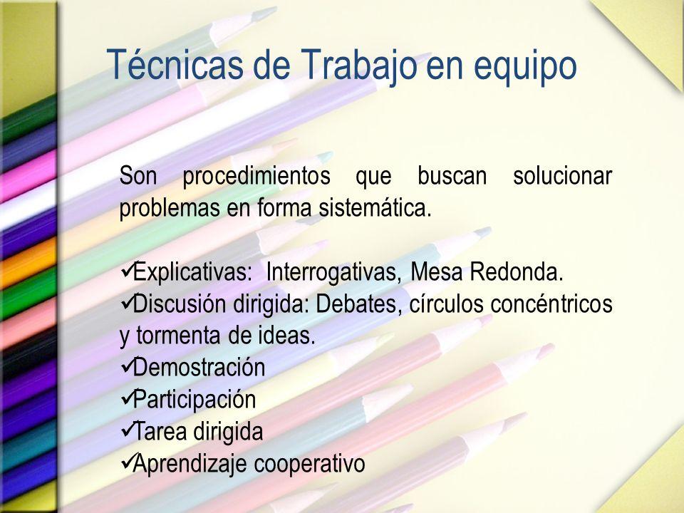 Técnicas de Trabajo en equipo Son procedimientos que buscan solucionar problemas en forma sistemática. Explicativas: Interrogativas, Mesa Redonda. Dis