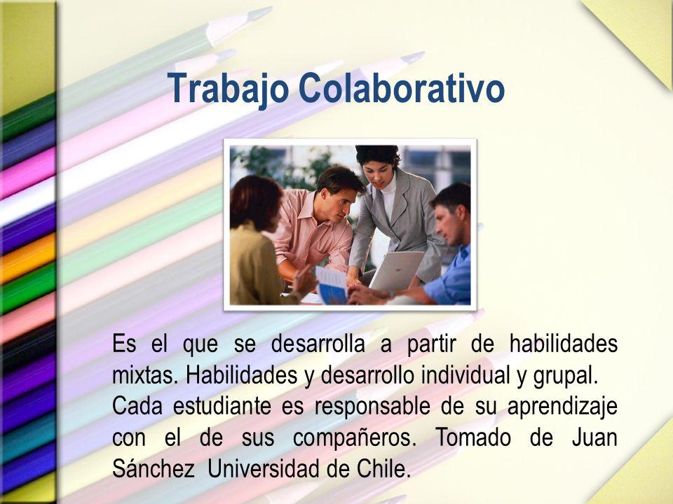 Trabajo Colaborativo Es el que se desarrolla a partir de habilidades mixtas. Habilidades y desarrollo individual y grupal. Cada estudiante es responsa