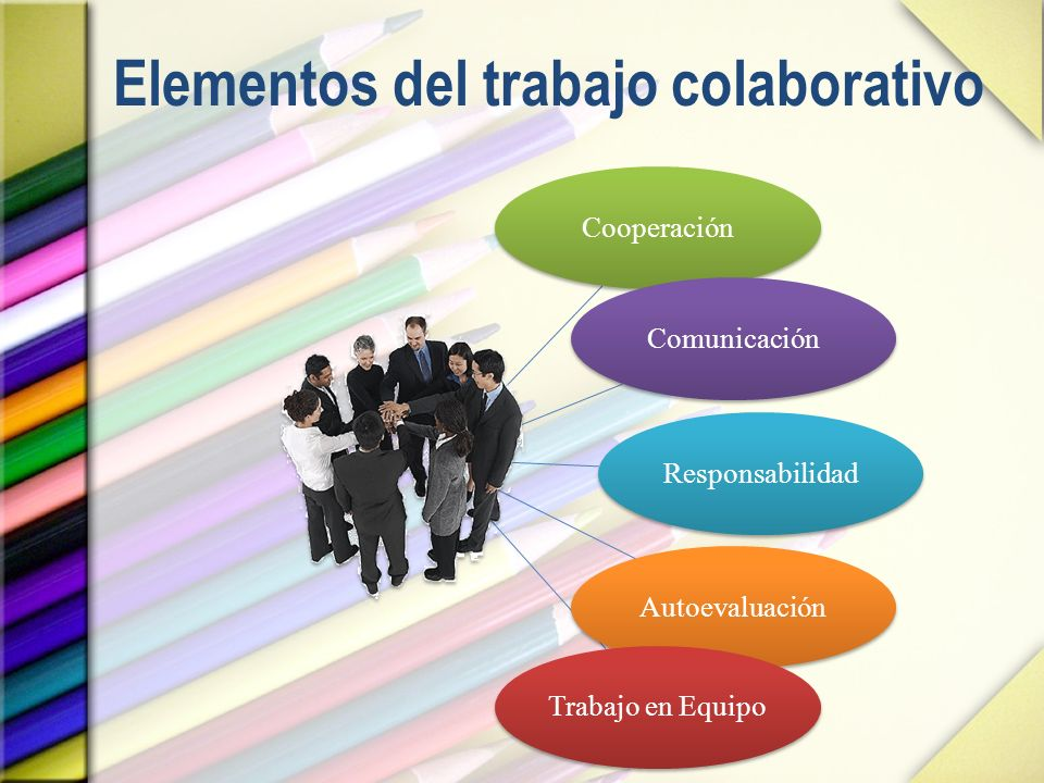 Elementos del trabajo colaborativo CooperaciónComunicaciónResponsabilidadAutoevaluaciónTrabajo en Equipo