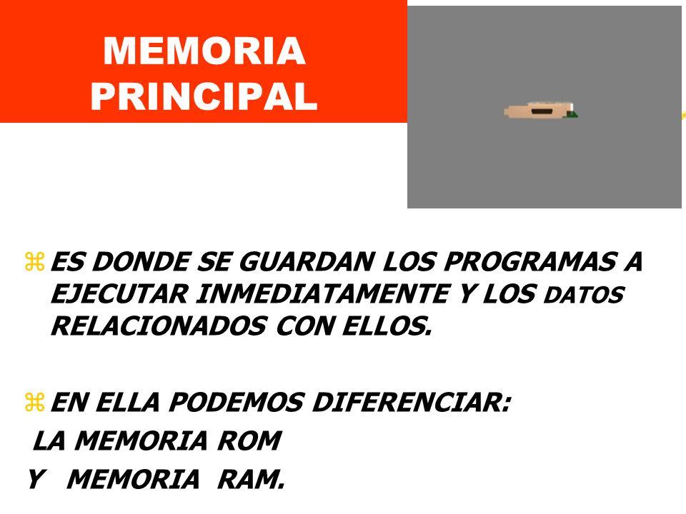 MEMORIA PRINCIPAL zES DONDE SE GUARDAN LOS PROGRAMAS A EJECUTAR INMEDIATAMENTE Y LOS DATOS RELACIONADOS CON ELLOS.