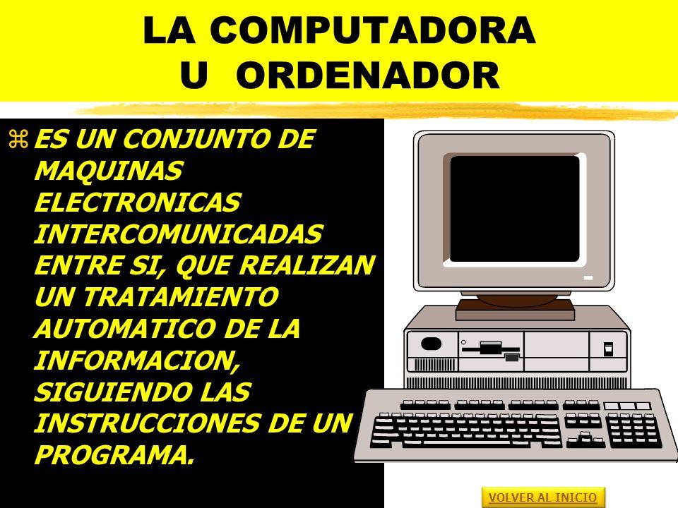 LA COMPUTADORA U ORDENADOR zES UN CONJUNTO DE MAQUINAS ELECTRONICAS INTERCOMUNICADAS ENTRE SI, QUE REALIZAN UN TRATAMIENTO AUTOMATICO DE LA INFORMACION, SIGUIENDO LAS INSTRUCCIONES DE UN PROGRAMA.