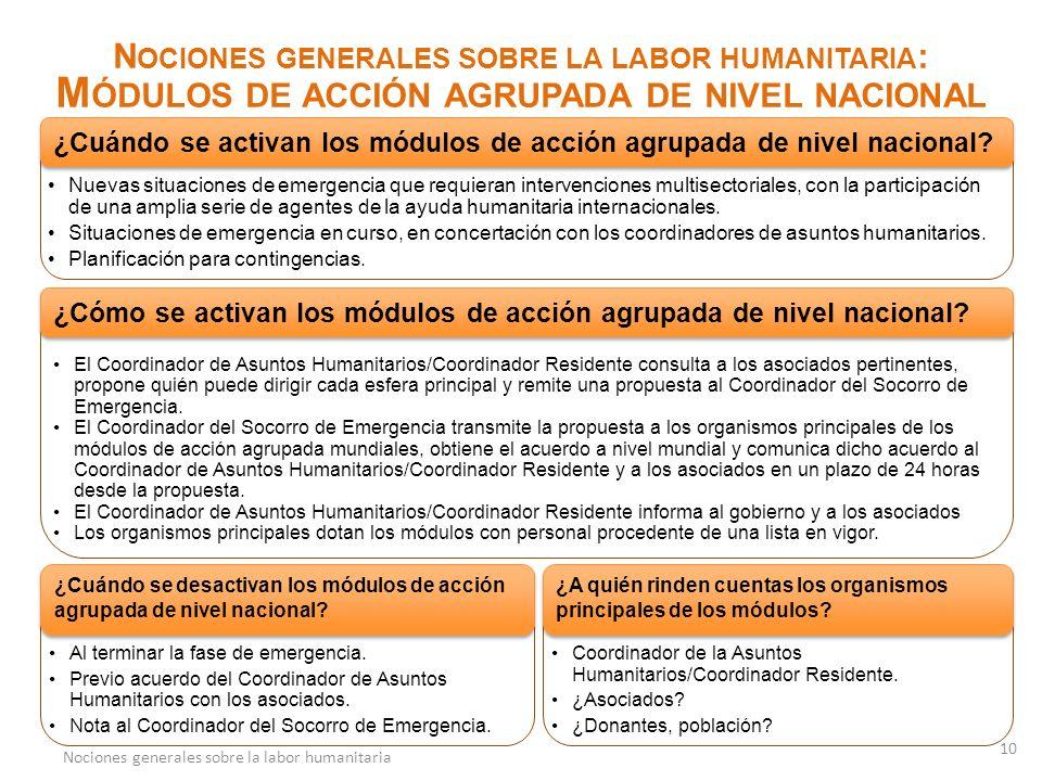 N OCIONES GENERALES SOBRE LA LABOR HUMANITARIA T HE C LUSTER A PPROACH N OCIONES GENERALES SOBRE LA LABOR HUMANITARIA : M ÓDULOS DE ACCIÓN AGRUPADA DE NIVEL NACIONAL Nuevas situaciones de emergencia que requieran intervenciones multisectoriales, con la participación de una amplia serie de agentes de la ayuda humanitaria internacionales.