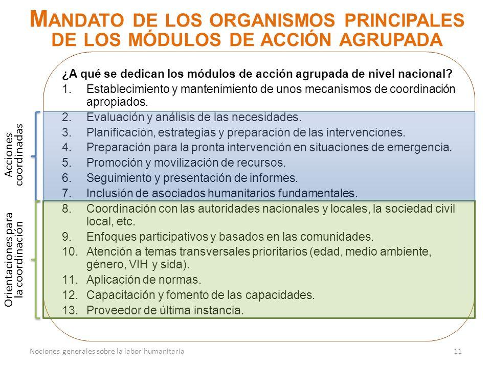 ¿A qué se dedican los módulos de acción agrupada de nivel nacional? 1.Establecimiento y mantenimiento de unos mecanismos de coordinación apropiados. 2
