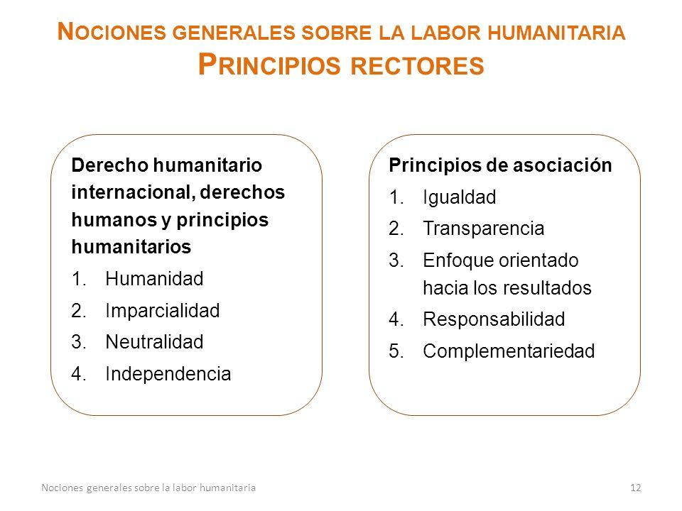 N OCIONES GENERALES SOBRE LA LABOR HUMANITARIA P RINCIPIOS RECTORES 12Nociones generales sobre la labor humanitaria Derecho humanitario internacional,