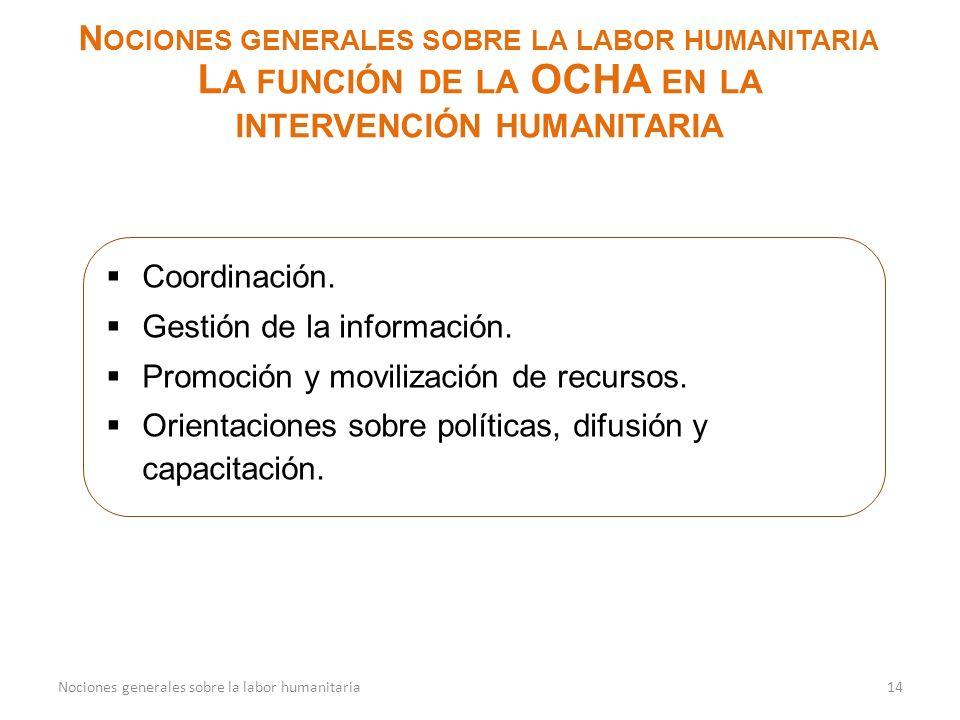 N OCIONES GENERALES SOBRE LA LABOR HUMANITARIA L A FUNCIÓN DE LA OCHA EN LA INTERVENCIÓN HUMANITARIA 14Nociones generales sobre la labor humanitaria C