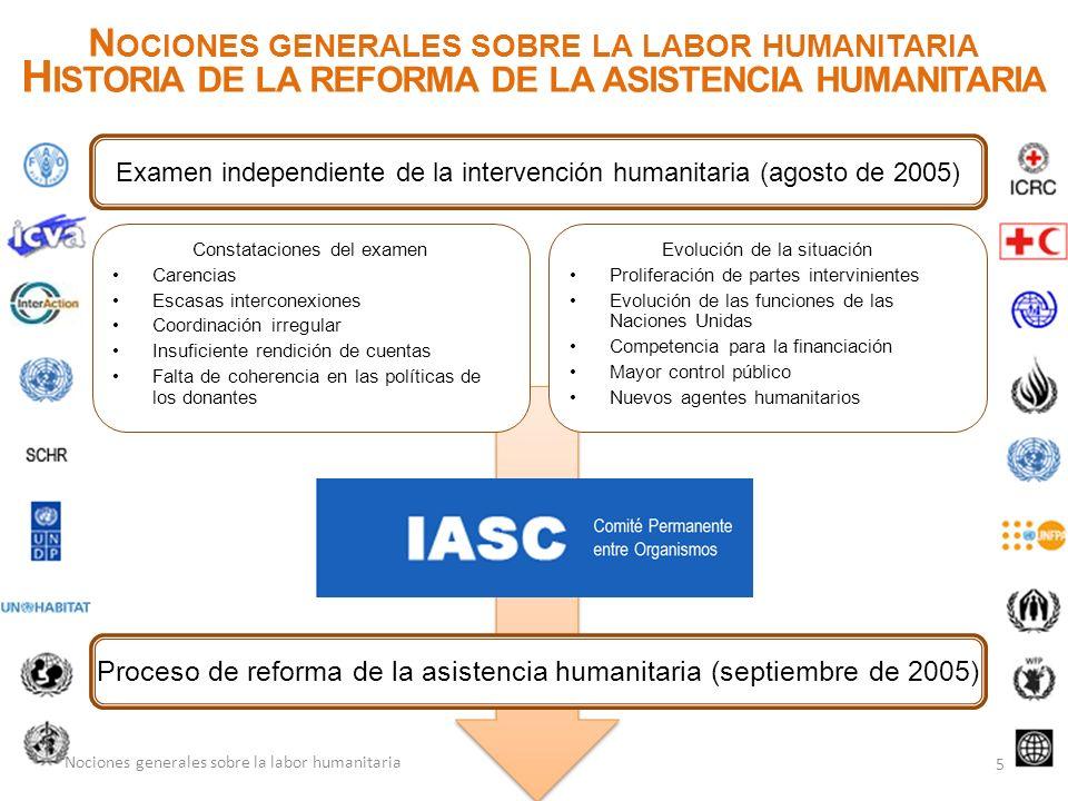 N OCIONES GENERALES SOBRE LA LABOR HUMANITARIA H ISTORIA DE LA REFORMA DE LA ASISTENCIA HUMANITARIA 5 Nociones generales sobre la labor humanitaria Co