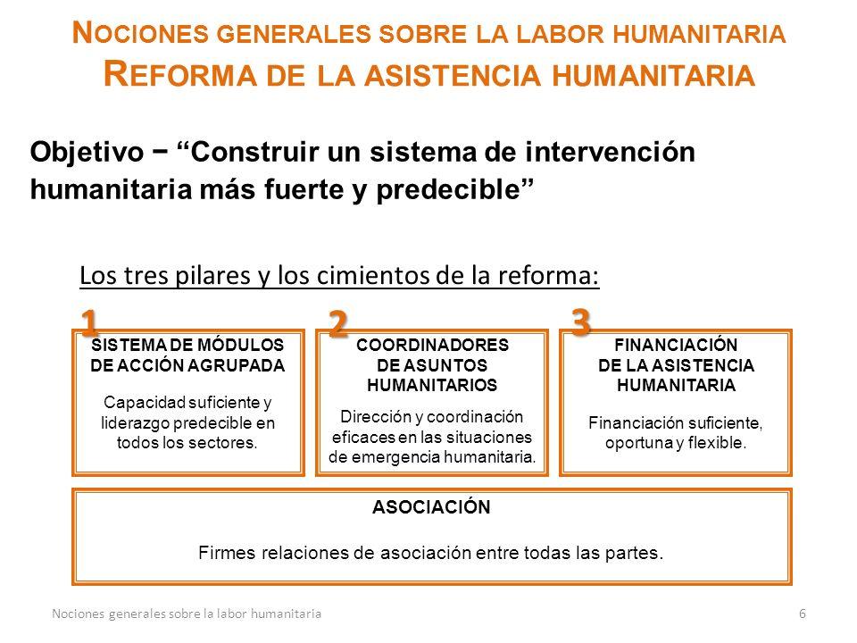 N OCIONES GENERALES SOBRE LA LABOR HUMANITARIA R EFORMA DE LA ASISTENCIA HUMANITARIA 6Nociones generales sobre la labor humanitaria Objetivo Construir