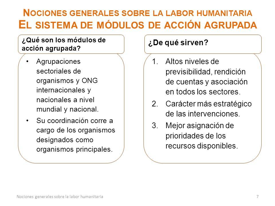 8Nociones generales sobre la labor humanitaria Los organismos principales de los módulos de acción agrupada mundiales son designados por el IASC y trabajan con asociados con el fin de intensificar la intervención sobre el terreno y ofrecer un liderazgo predecible.