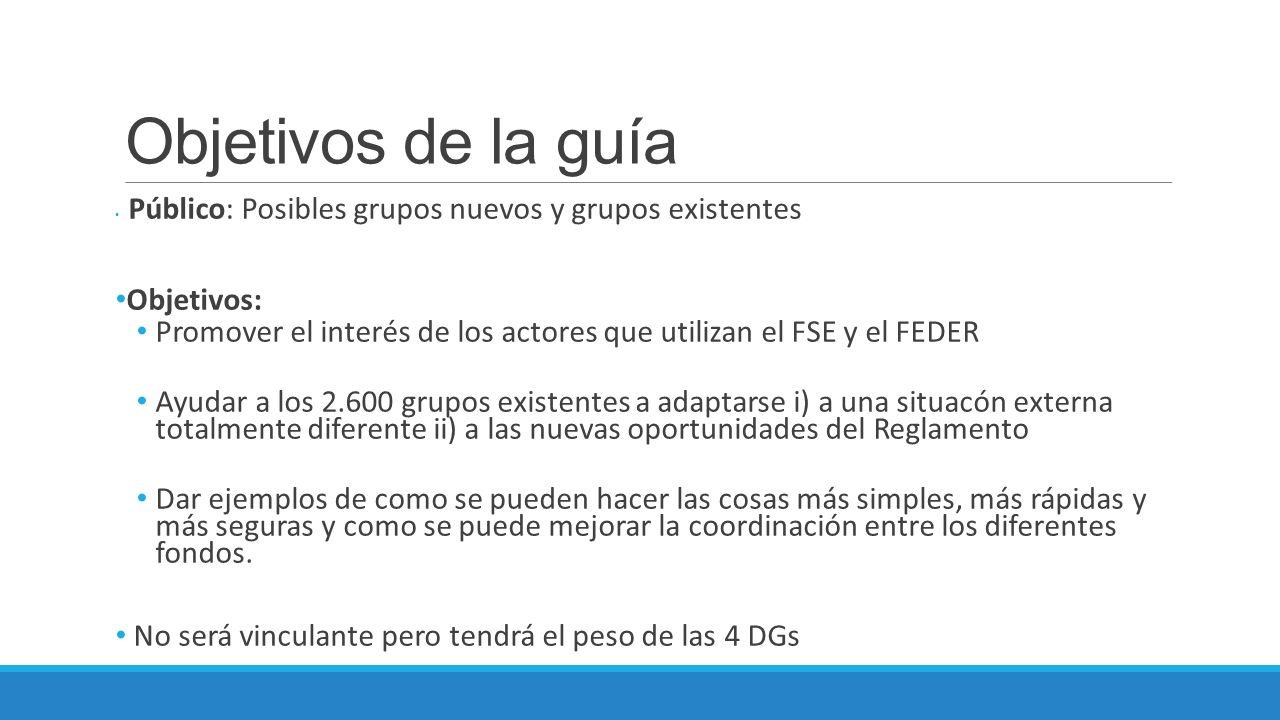 Objetivos de la guía Público: Posibles grupos nuevos y grupos existentes Objetivos: Promover el interés de los actores que utilizan el FSE y el FEDER