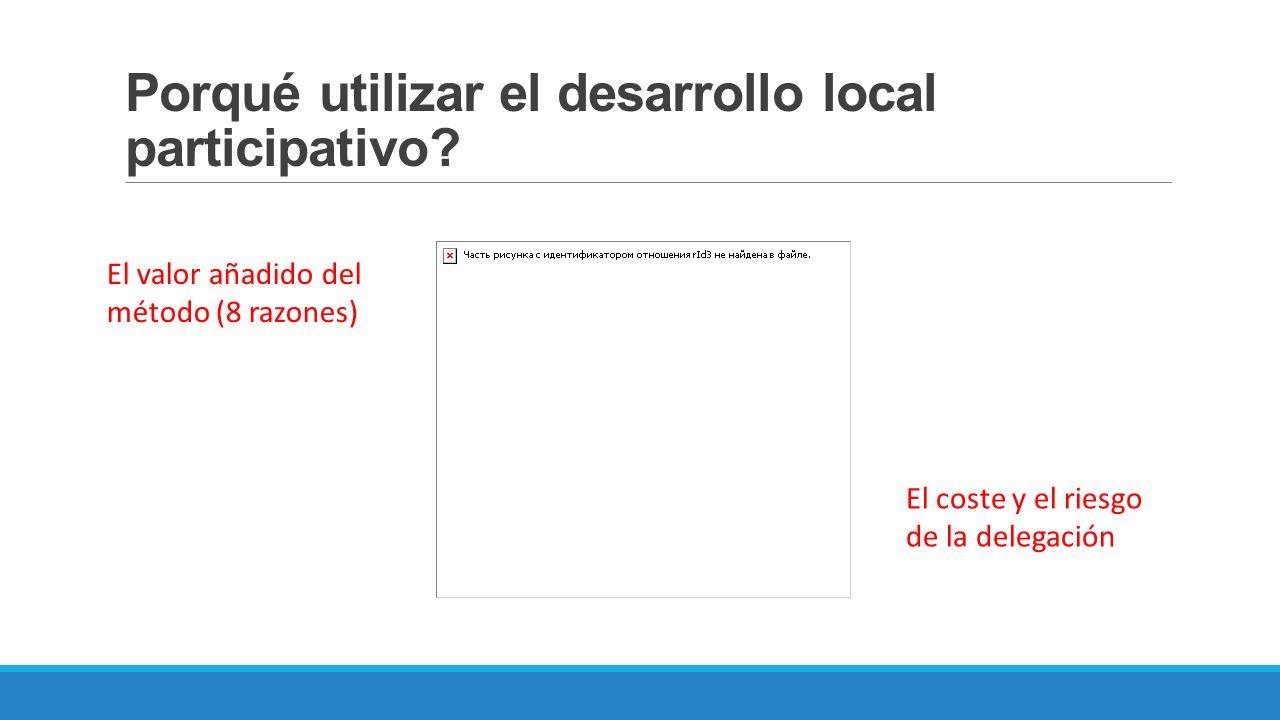 Porqué utilizar el desarrollo local participativo? El valor añadido del método (8 razones) El coste y el riesgo de la delegación