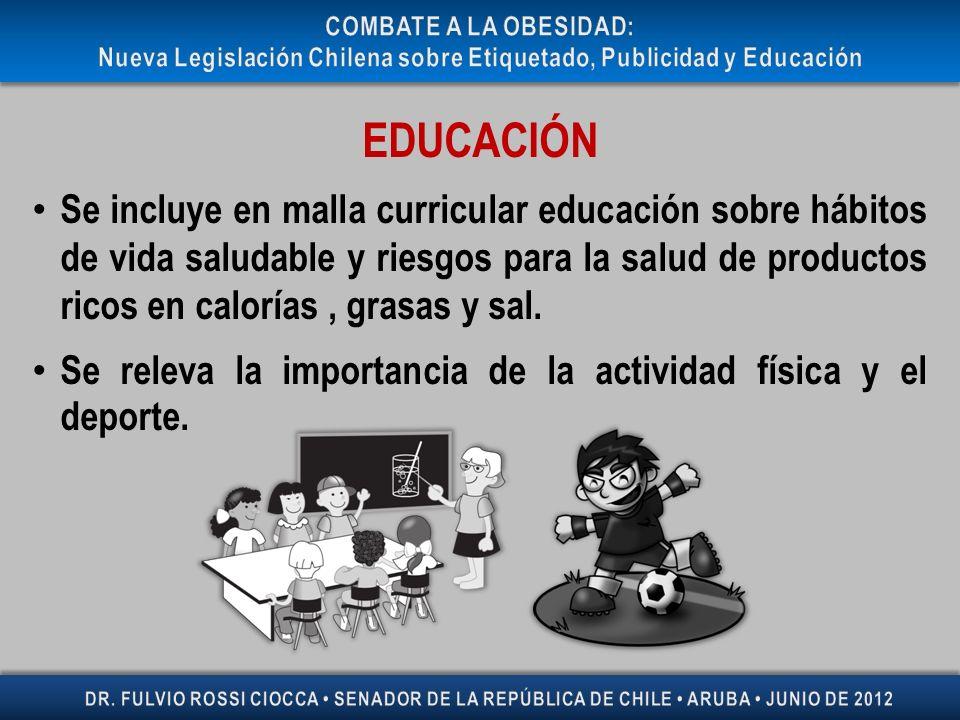 EDUCACIÓN Se incluye en malla curricular educación sobre hábitos de vida saludable y riesgos para la salud de productos ricos en calorías, grasas y sa