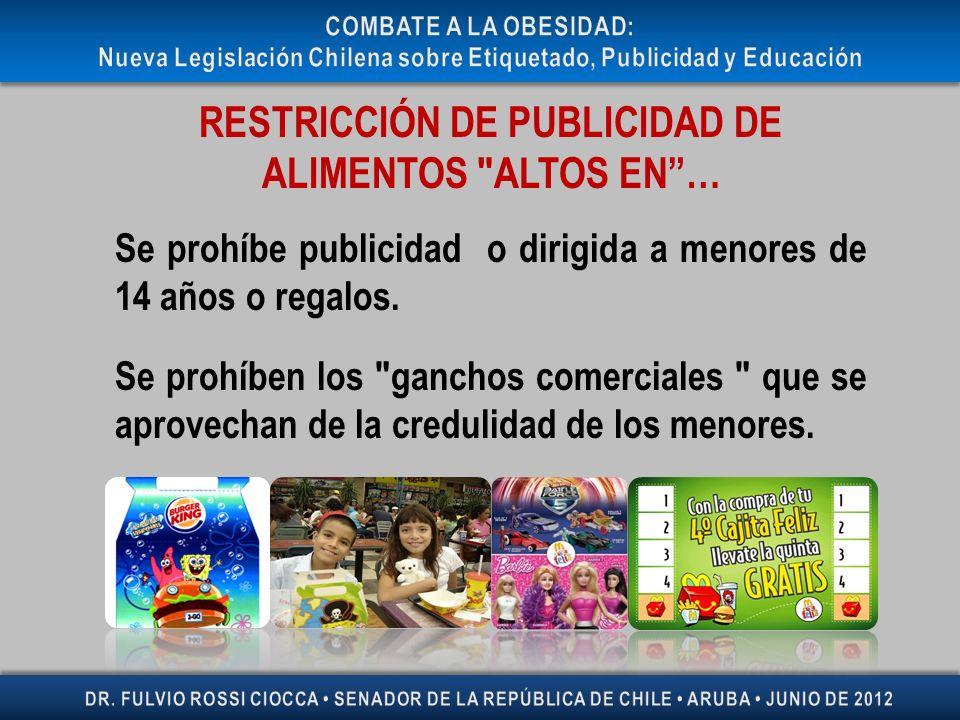 RESTRICCIÓN DE PUBLICIDAD DE ALIMENTOS
