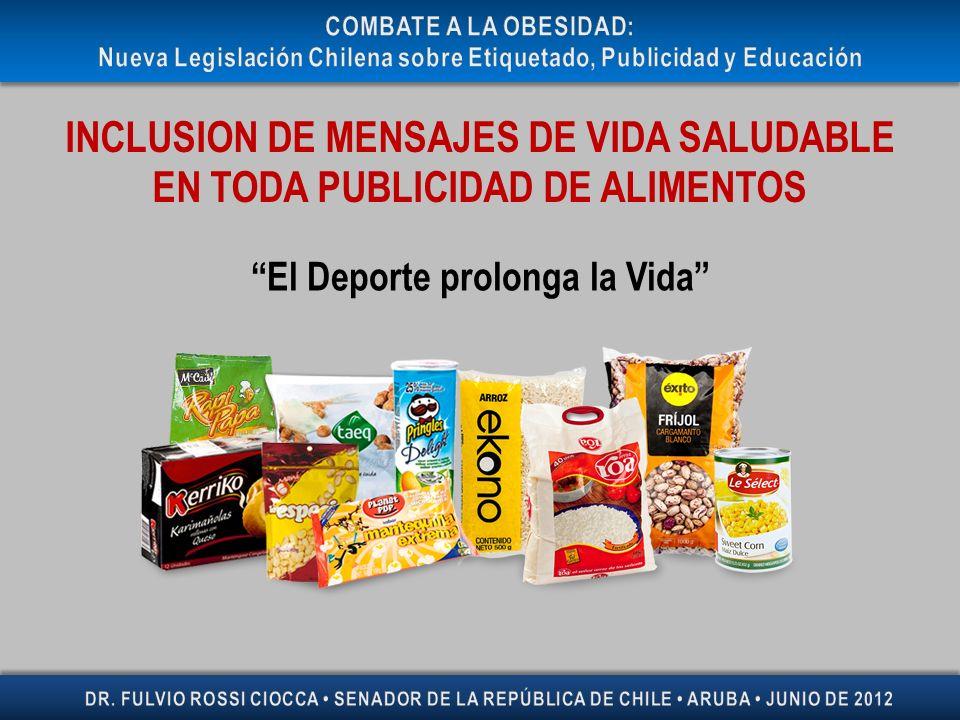 INCLUSION DE MENSAJES DE VIDA SALUDABLE EN TODA PUBLICIDAD DE ALIMENTOS El Deporte prolonga la Vida
