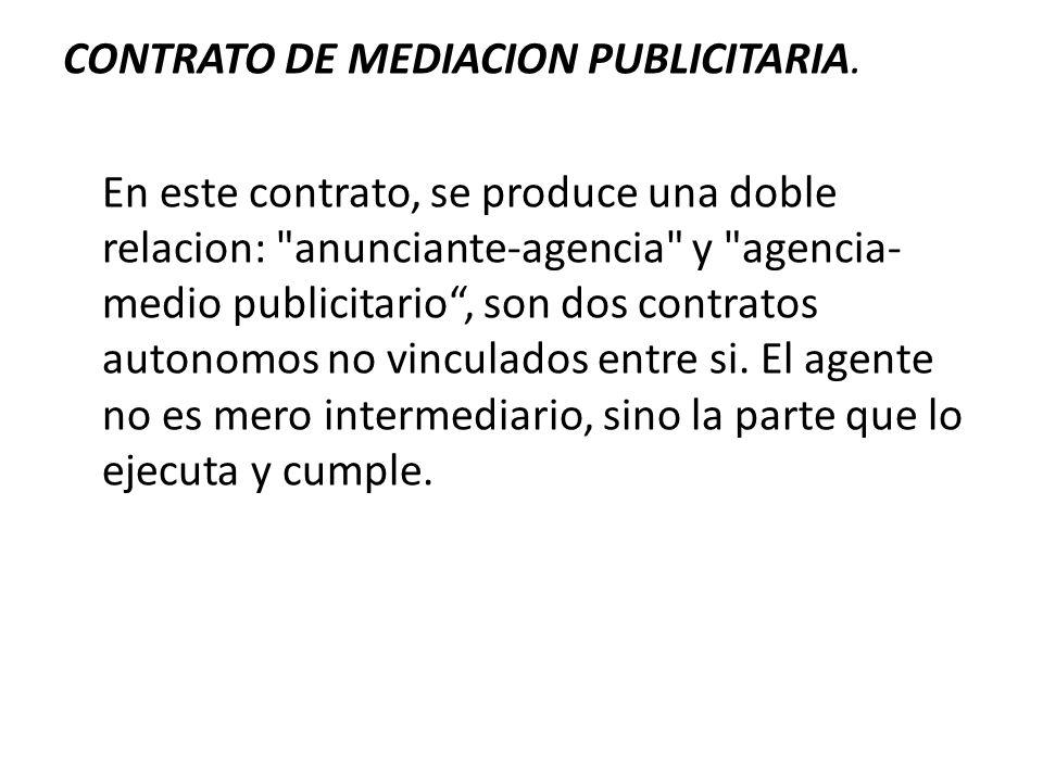 CONTRATO DE MEDIACION PUBLICITARIA. En este contrato, se produce una doble relacion: