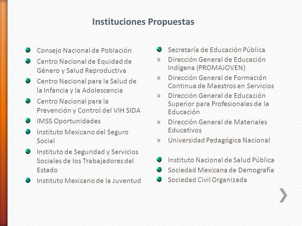 Consejo Nacional de Población Centro Nacional de Equidad de Género y Salud Reproductiva Centro Nacional para la Salud de la Infancia y la Adolescencia