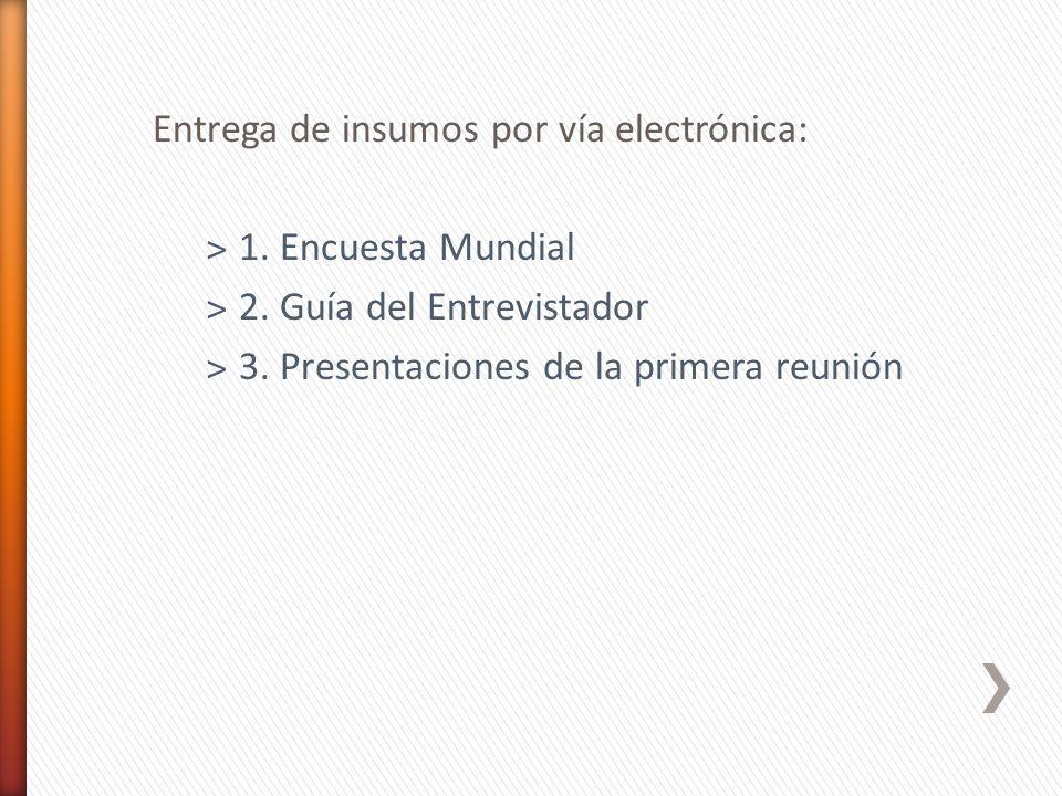 Entrega de insumos por vía electrónica: ˃1. Encuesta Mundial ˃2. Guía del Entrevistador ˃3. Presentaciones de la primera reunión