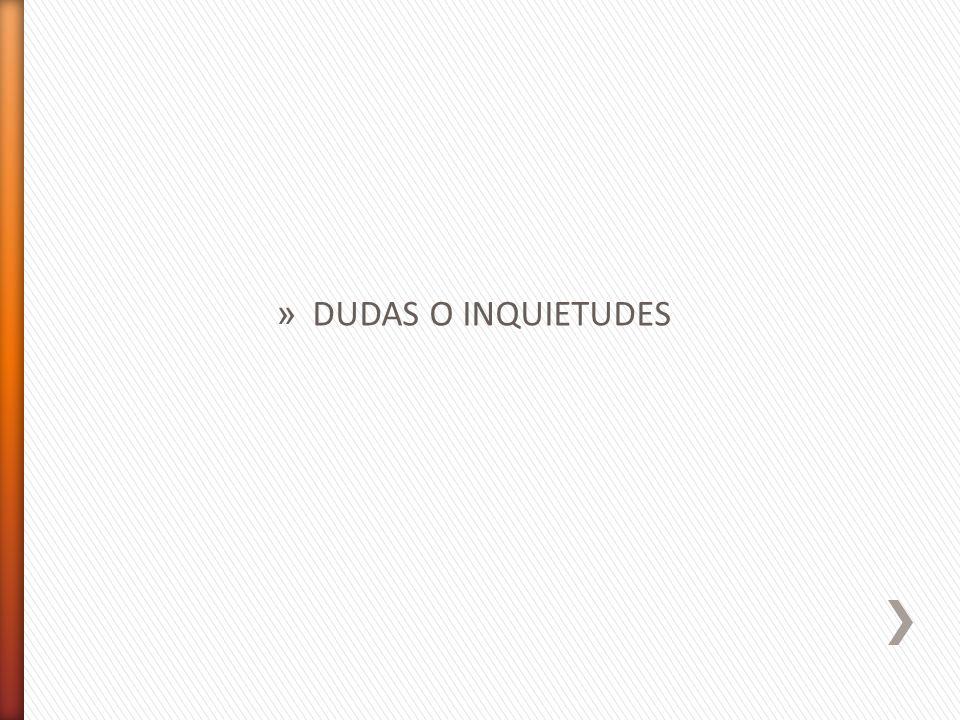» DUDAS O INQUIETUDES