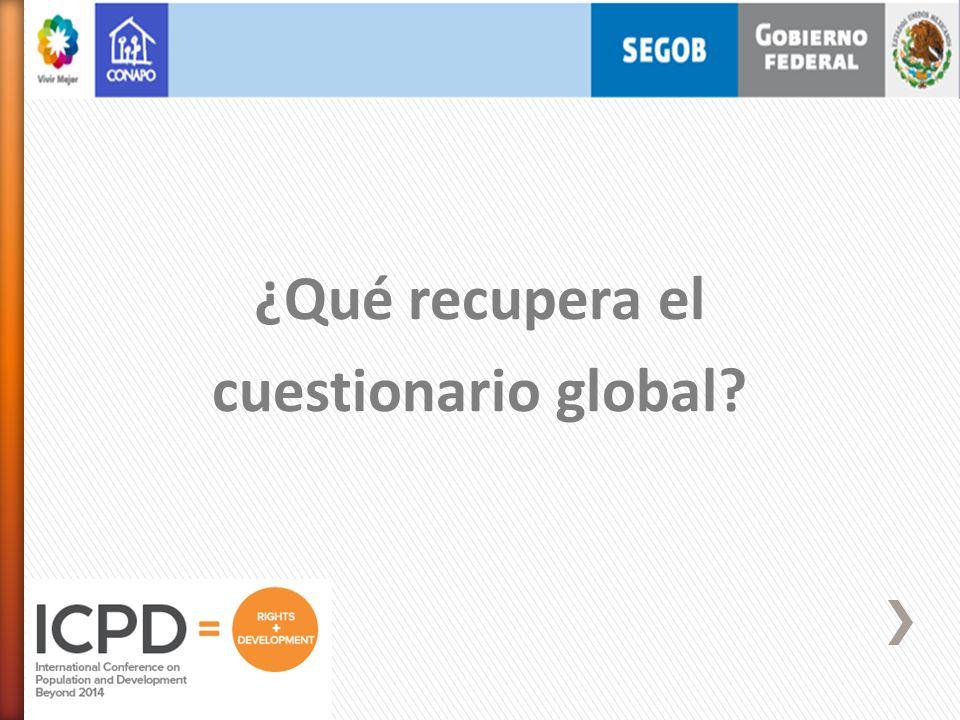 ¿Qué recupera el cuestionario global?