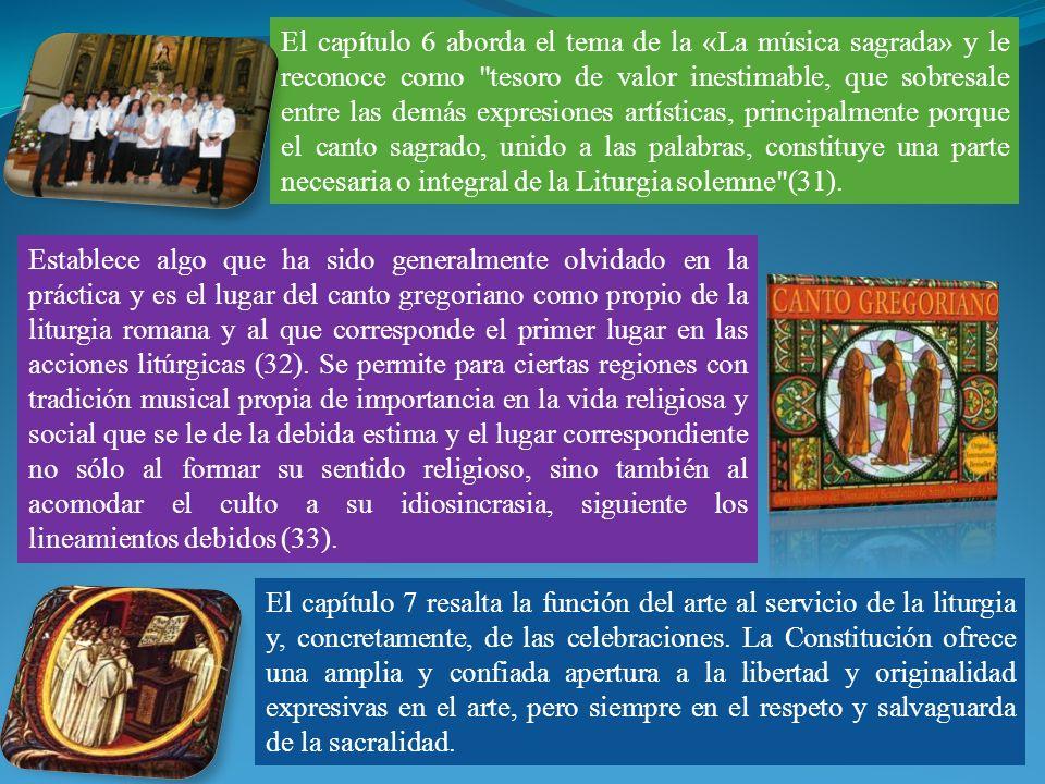 El capítulo 6 aborda el tema de la «La música sagrada» y le reconoce como