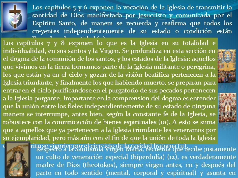 Los capítulos 5 y 6 exponen la vocación de la Iglesia de transmitir la santidad de Dios manifestada por Jesucristo y comunicada por el Espíritu Santo,