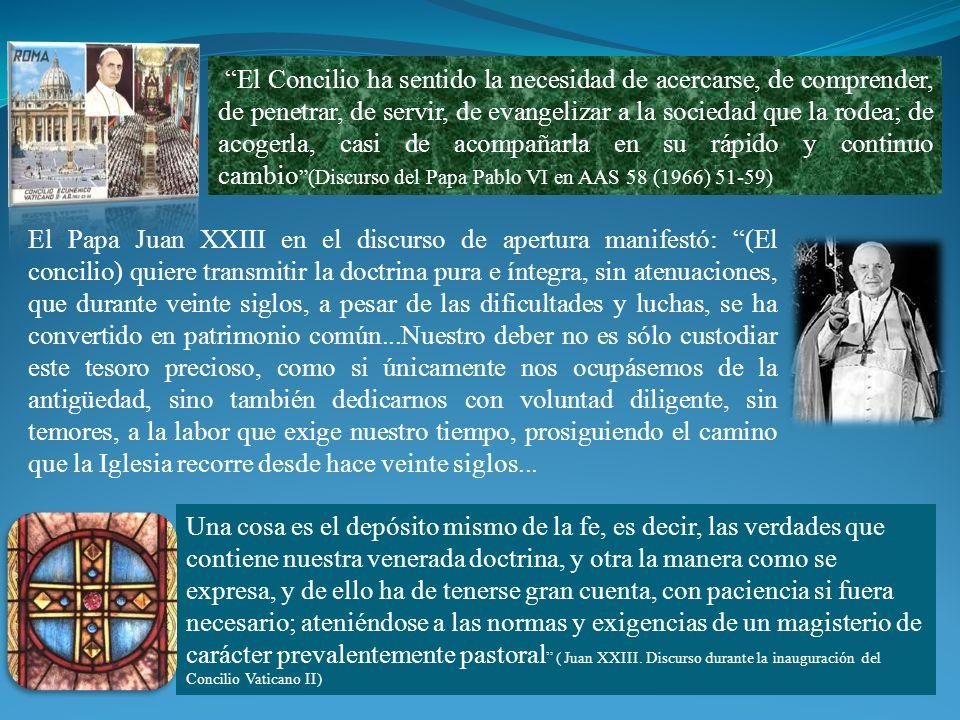 El Papa Juan XXIII en el discurso de apertura manifestó: (El concilio) quiere transmitir la doctrina pura e íntegra, sin atenuaciones, que durante vei
