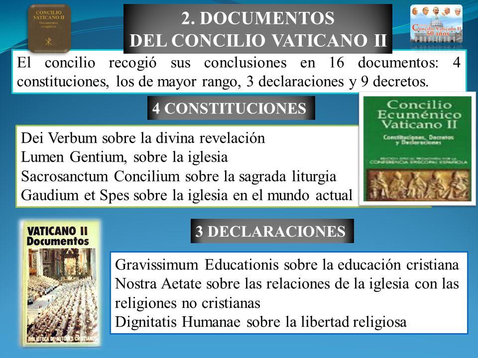 El concilio recogió sus conclusiones en 16 documentos: 4 constituciones, los de mayor rango, 3 declaraciones y 9 decretos. 2. DOCUMENTOS DEL CONCILIO