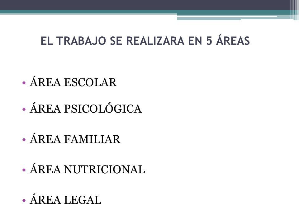 EL TRABAJO SE REALIZARA EN 5 ÁREAS ÁREA ESCOLAR ÁREA PSICOLÓGICA ÁREA FAMILIAR ÁREA NUTRICIONAL ÁREA LEGAL
