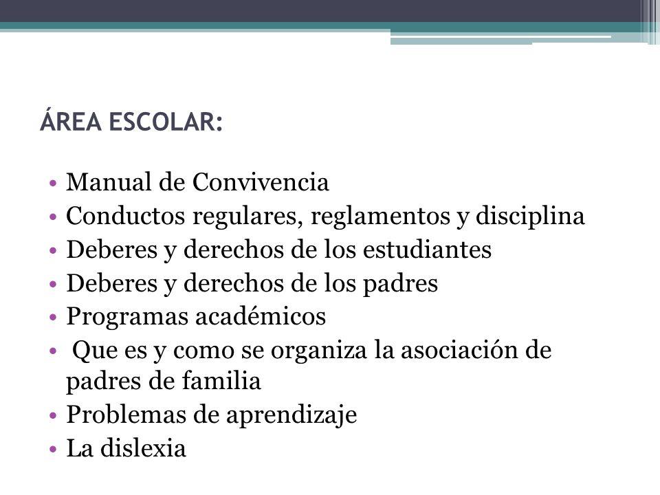 ÁREA ESCOLAR: Manual de Convivencia Conductos regulares, reglamentos y disciplina Deberes y derechos de los estudiantes Deberes y derechos de los padr