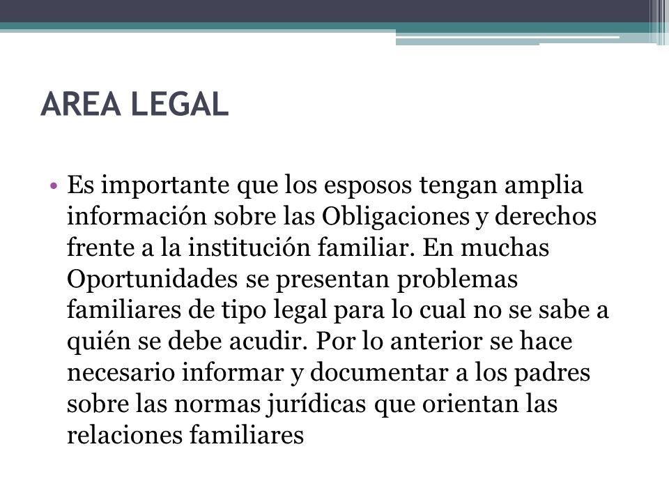 AREA LEGAL Es importante que los esposos tengan amplia información sobre las Obligaciones y derechos frente a la institución familiar. En muchas Oport