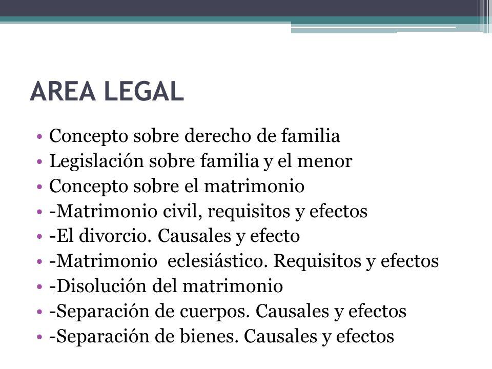 AREA LEGAL Concepto sobre derecho de familia Legislación sobre familia y el menor Concepto sobre el matrimonio -Matrimonio civil, requisitos y efectos