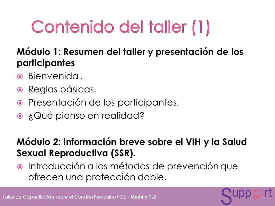 Módulo 1: Resumen del taller y presentación de los participantes Bienvenida. Reglas básicas. Presentación de los participantes. ¿Qué pienso en realida