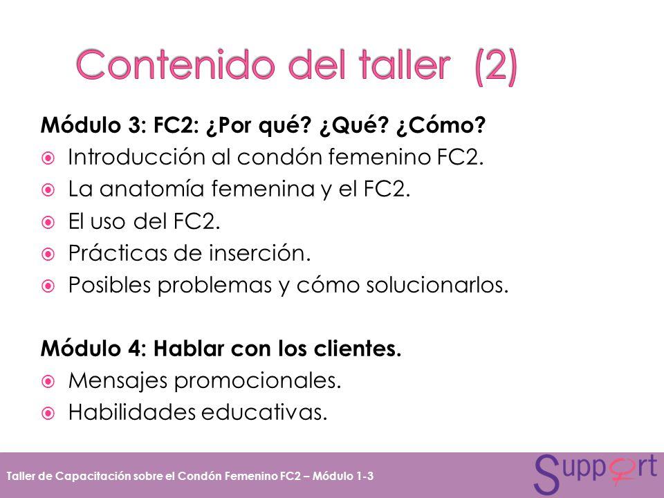 Módulo 3: FC2: ¿Por qué? ¿Qué? ¿Cómo? Introducción al condón femenino FC2. La anatomía femenina y el FC2. El uso del FC2. Prácticas de inserción. Posi