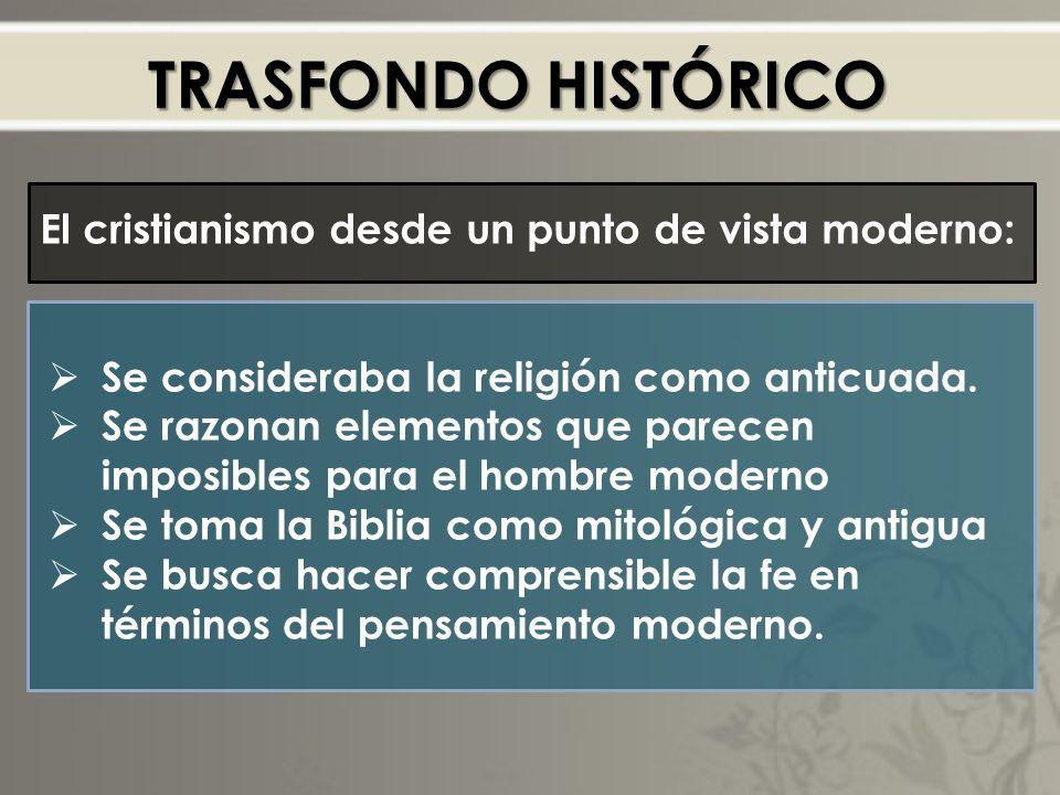 TRASFONDO HISTÓRICO El cristianismo desde un punto de vista moderno: Se consideraba la religión como anticuada.