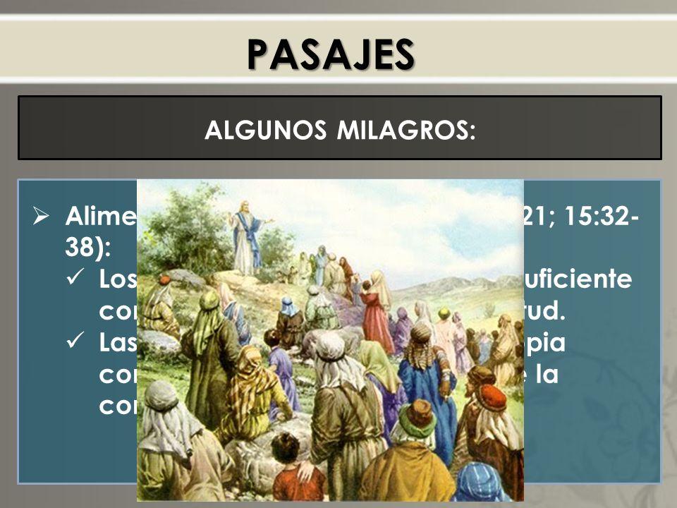 PASAJES ALGUNOS MILAGROS: Alimentación de los 5000 (Mt 14:15-21; 15:32- 38): Los discipulos habían guardado suficiente comida para alimentar a la multitud.