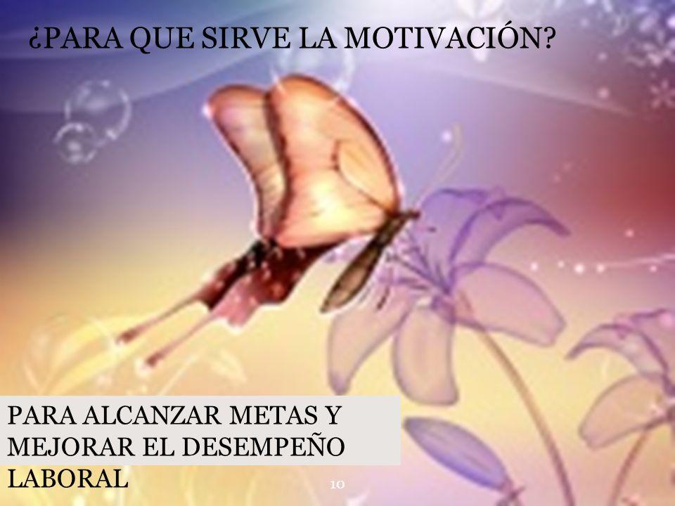 ¿PARA QUE SIRVE LA MOTIVACIÓN? PARA ALCANZAR METAS Y MEJORAR EL DESEMPEÑO LABORAL 10