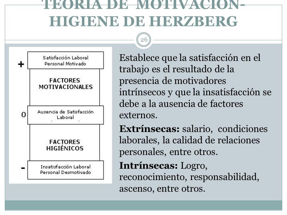 TEORIA DE MOTIVACIÓN- HIGIENE DE HERZBERG 26 Establece que la satisfacción en el trabajo es el resultado de la presencia de motivadores intrínsecos y