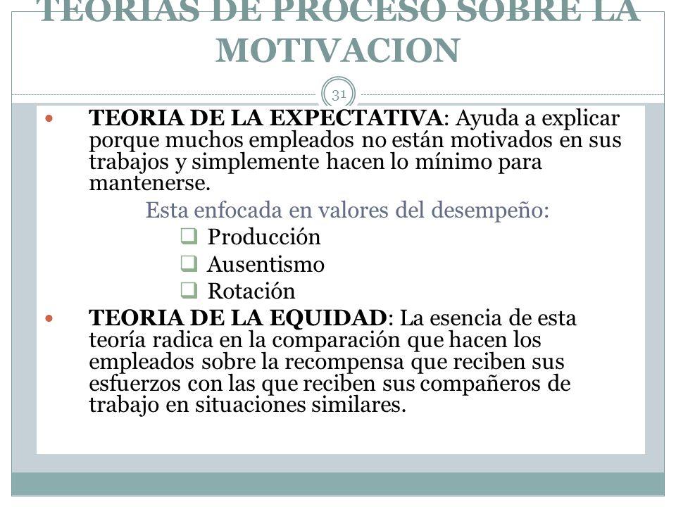 TEORIAS DE PROCESO SOBRE LA MOTIVACION 31 TEORIA DE LA EXPECTATIVA: Ayuda a explicar porque muchos empleados no están motivados en sus trabajos y simp