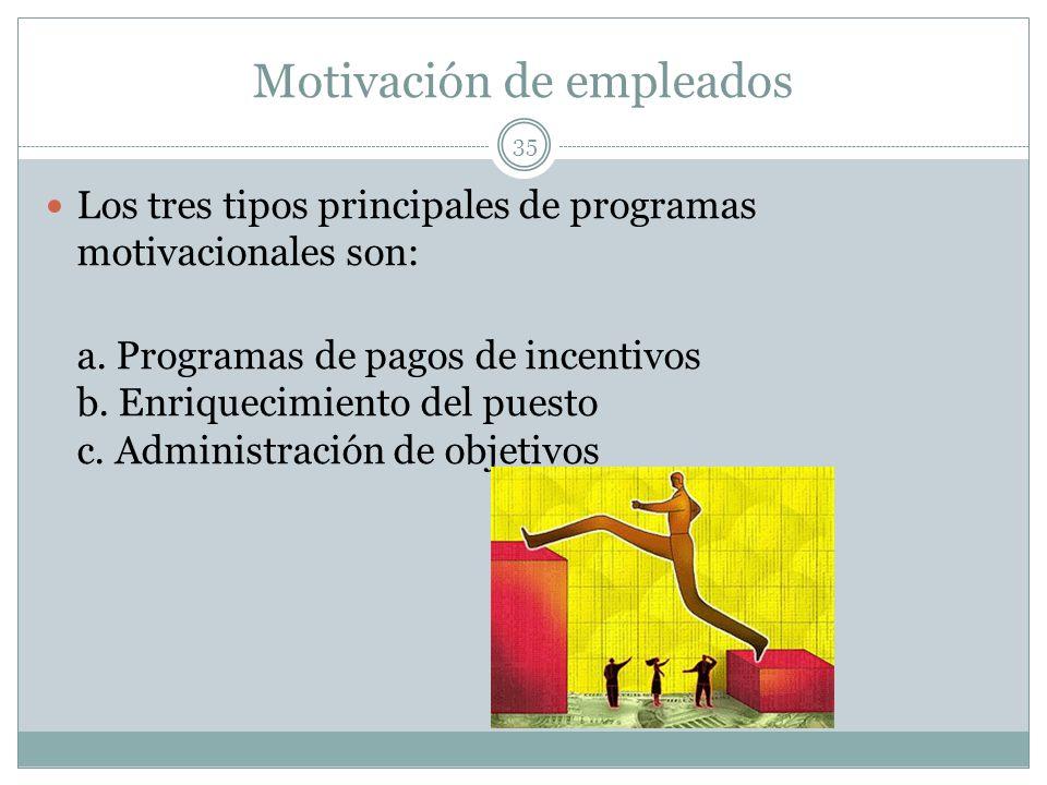 Motivación de empleados 35 Los tres tipos principales de programas motivacionales son: a. Programas de pagos de incentivos b. Enriquecimiento del pues