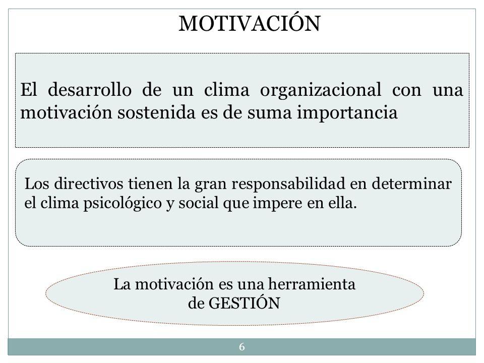 El desarrollo de un clima organizacional con una motivación sostenida es de suma importancia Los directivos tienen la gran responsabilidad en determin
