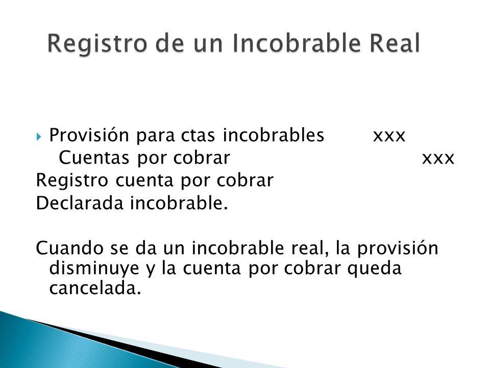 Provisión para ctas incobrablesxxx Cuentas por cobrarxxx Registro cuenta por cobrar Declarada incobrable. Cuando se da un incobrable real, la provisió