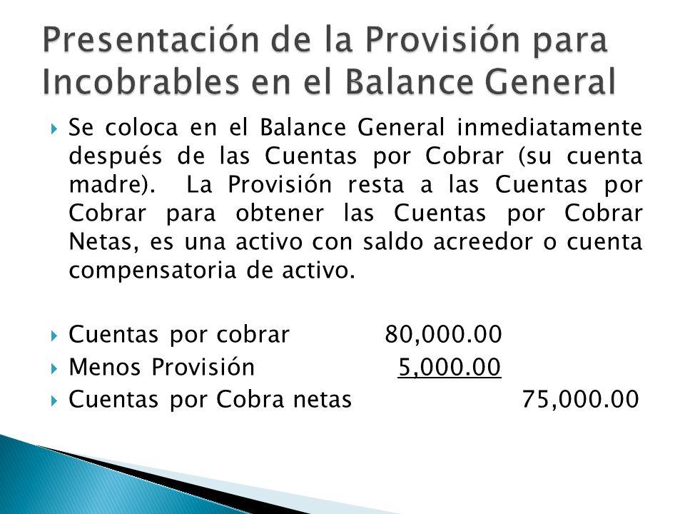 Se coloca en el Balance General inmediatamente después de las Cuentas por Cobrar (su cuenta madre). La Provisión resta a las Cuentas por Cobrar para o