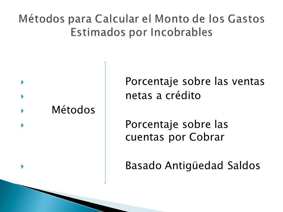 Porcentaje sobre las ventas netas a crédito Métodos Porcentaje sobre las cuentas por Cobrar Basado Antigüedad Saldos