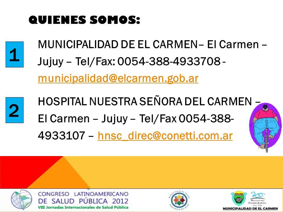QUIENES SOMOS: MUNICIPALIDAD DE EL CARMEN– El Carmen – Jujuy – Tel/Fax: 0054-388-4933708 - municipalidad@elcarmen.gob.ar municipalidad@elcarmen.gob.ar HOSPITAL NUESTRA SEÑORA DEL CARMEN – El Carmen – Jujuy – Tel/Fax 0054-388- 4933107 – hnsc_direc@conetti.com.arhnsc_direc@conetti.com.ar 1 2