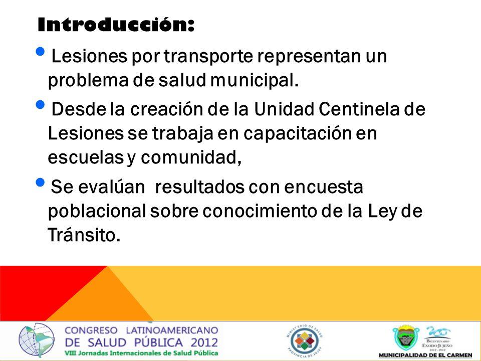 Introducción: Lesiones por transporte representan un problema de salud municipal.