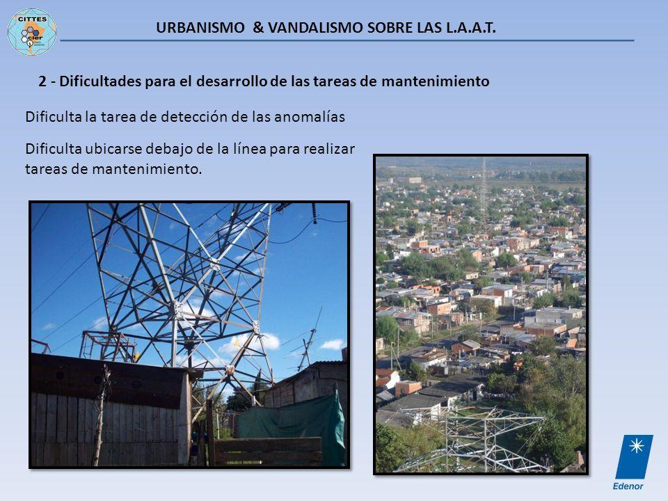 URBANISMO & VANDALISMO SOBRE LAS L.A.A.T. 2 - Dificultades para el desarrollo de las tareas de mantenimiento Dificulta la tarea de detección de las an