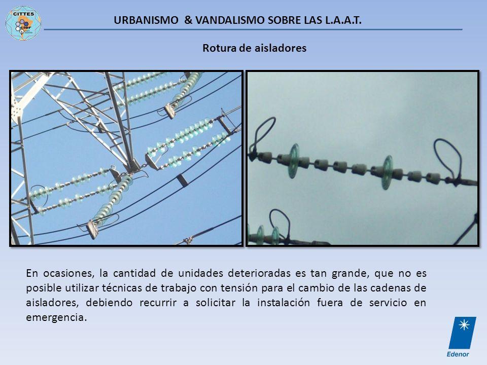 URBANISMO & VANDALISMO SOBRE LAS L.A.A.T. Rotura de aisladores En ocasiones, la cantidad de unidades deterioradas es tan grande, que no es posible uti