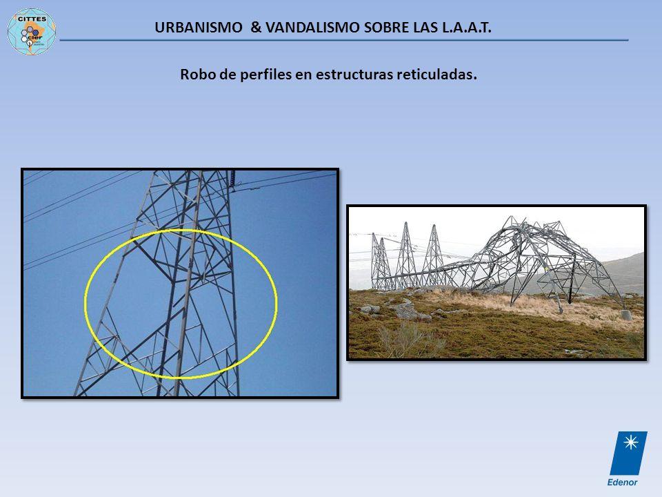 URBANISMO & VANDALISMO SOBRE LAS L.A.A.T. Robo de perfiles en estructuras reticuladas.