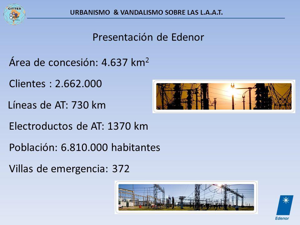 URBANISMO & VANDALISMO SOBRE LAS L.A.A.T. Área de concesión: 4.637 km 2 Clientes : 2.662.000 Población: 6.810.000 habitantes Líneas de AT: 730 km Elec