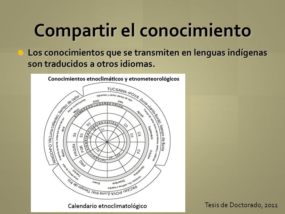 Los conocimientos que se transmiten en lenguas indígenas son traducidos a otros idiomas. Los conocimientos que se transmiten en lenguas indígenas son