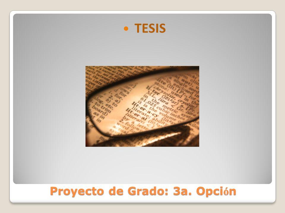 Proyecto de Grado: 3a. Opci ó n TESIS